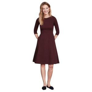 Boden Curve & Flare Work Dress Quilted Wine 8P
